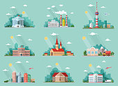 Mega Set of icons for your design. School, Town Hall, the university, hospital, church, TV, city, museum, supermarket, areoport, car wash. Flat style vector illustration
