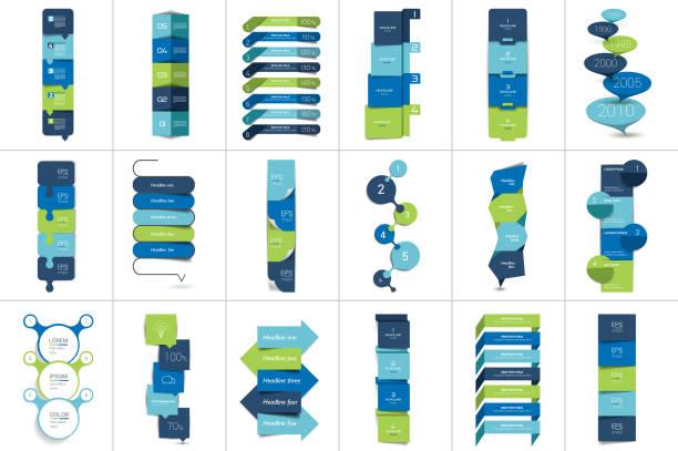 Mega set of Option step by step vertical schedule, tab Mega set of Option step by step vertical schedule, tab, banner, bar. Vector design infographic. topics stock illustrations