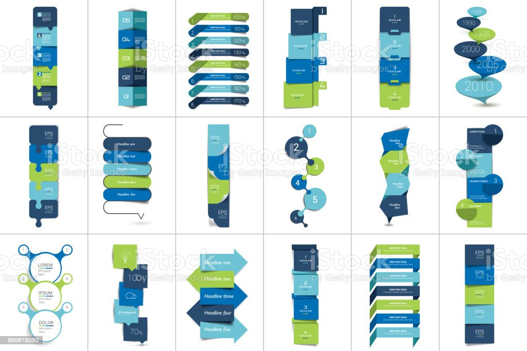 Mega set of Option step by step vertical schedule, tab - ilustração de arte vetorial