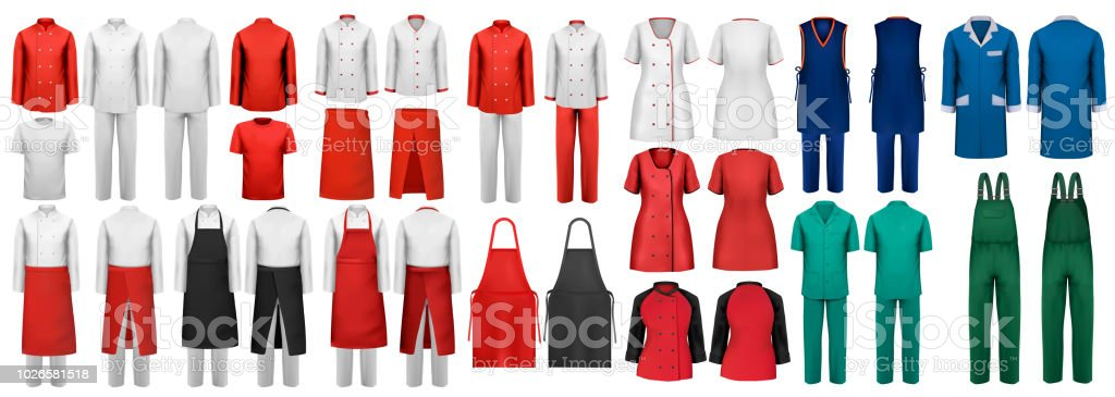 Mega Set Of Overalls With Worker And Medical Clothes Design Template Vector Illustration
