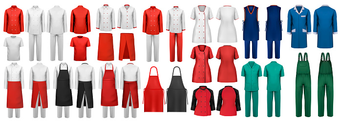 Mega set of overalls with worker and medical clothes. Design template. Vector illustration.