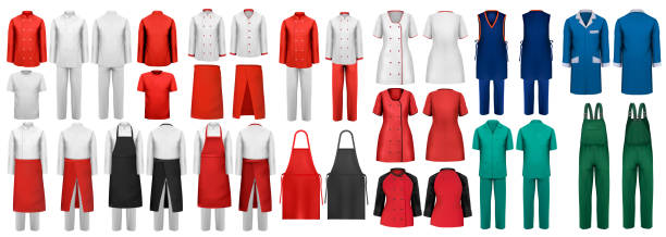 Mega set of overalls with worker and medical clothes. Design template. Vector illustration. Mega set of overalls with worker and medical clothes. Design template. Vector illustration. apron isolated stock illustrations