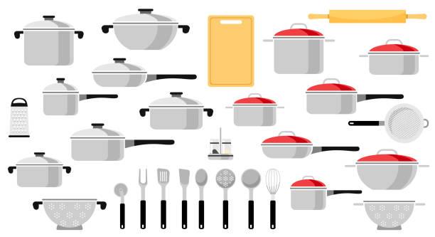 Mega set of pans and kitchen utensils. Vector illustration of a flat style. Mega set of pans and kitchen utensils. Vector illustration of a flat style. kitchenware department stock illustrations