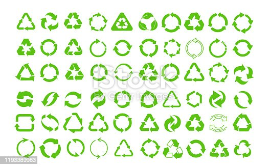 Mega set of recycle icon. Green recycling and rotation arrow icon pack. Flat design web elements for website, app for infographics materials. Eco vector illustration. Isolated on white background.