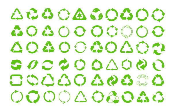 stockillustraties, clipart, cartoons en iconen met mega set recycle icoon. groene recycling en rotatie pijl icon pack. flat design web elementen voor website, app voor infographics materialen. eco vector illustratie. geïsoleerd op witte achtergrond. - triangel