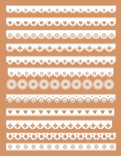 Mega set  of scallop lace borders. Vector illustration in vintage style Mega set  of scallop lace borders. Vector illustration in vintage style lace textile stock illustrations