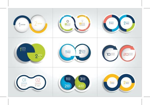 bildbanksillustrationer, clip art samt tecknat material och ikoner med mega uppsättning steg diagram, diagram, två element, systemet. - två objekt