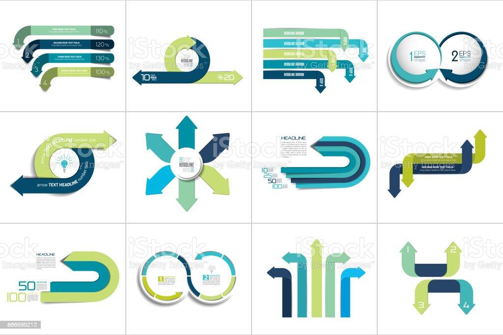 Mega set of various arrows infographic concepts. vector art illustration