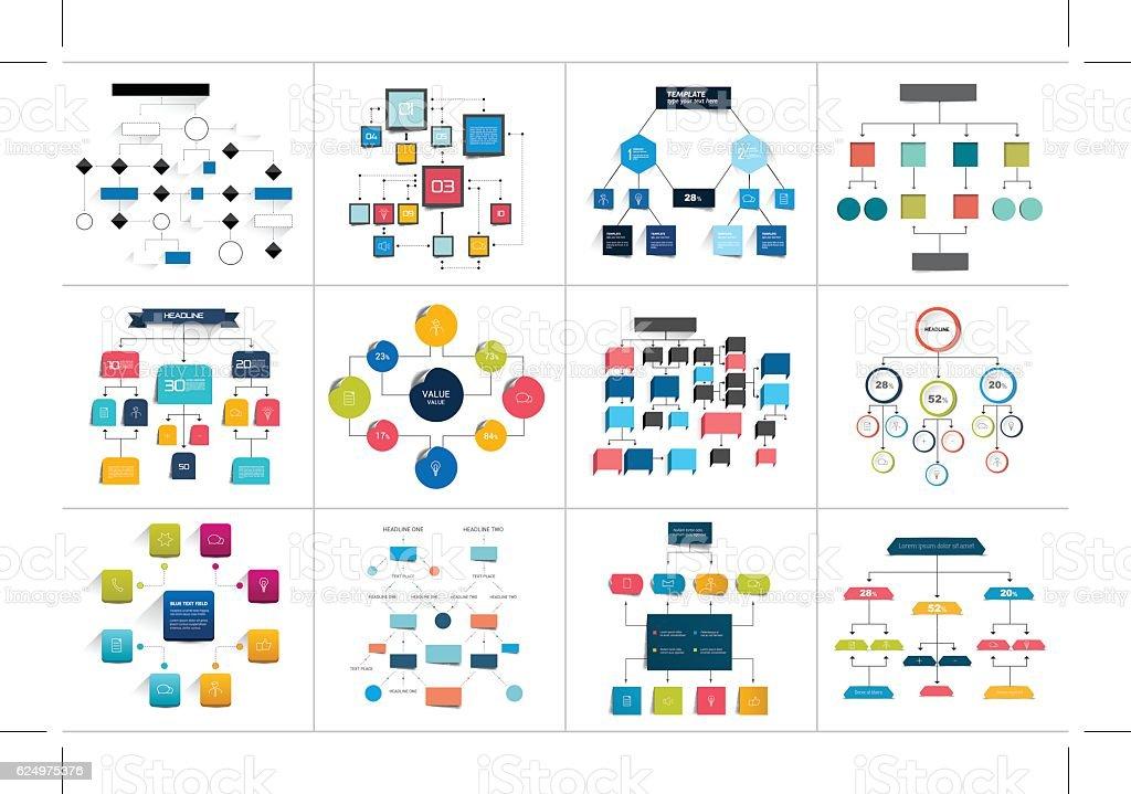 Mega set of various  flowcharts schemes, diagrams. Simply color editable - ilustración de arte vectorial