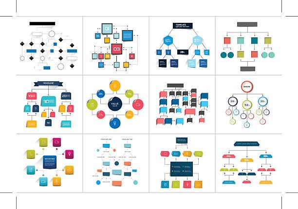 Mega set of various  flowcharts schemes, diagrams. Simply color editable vector art illustration