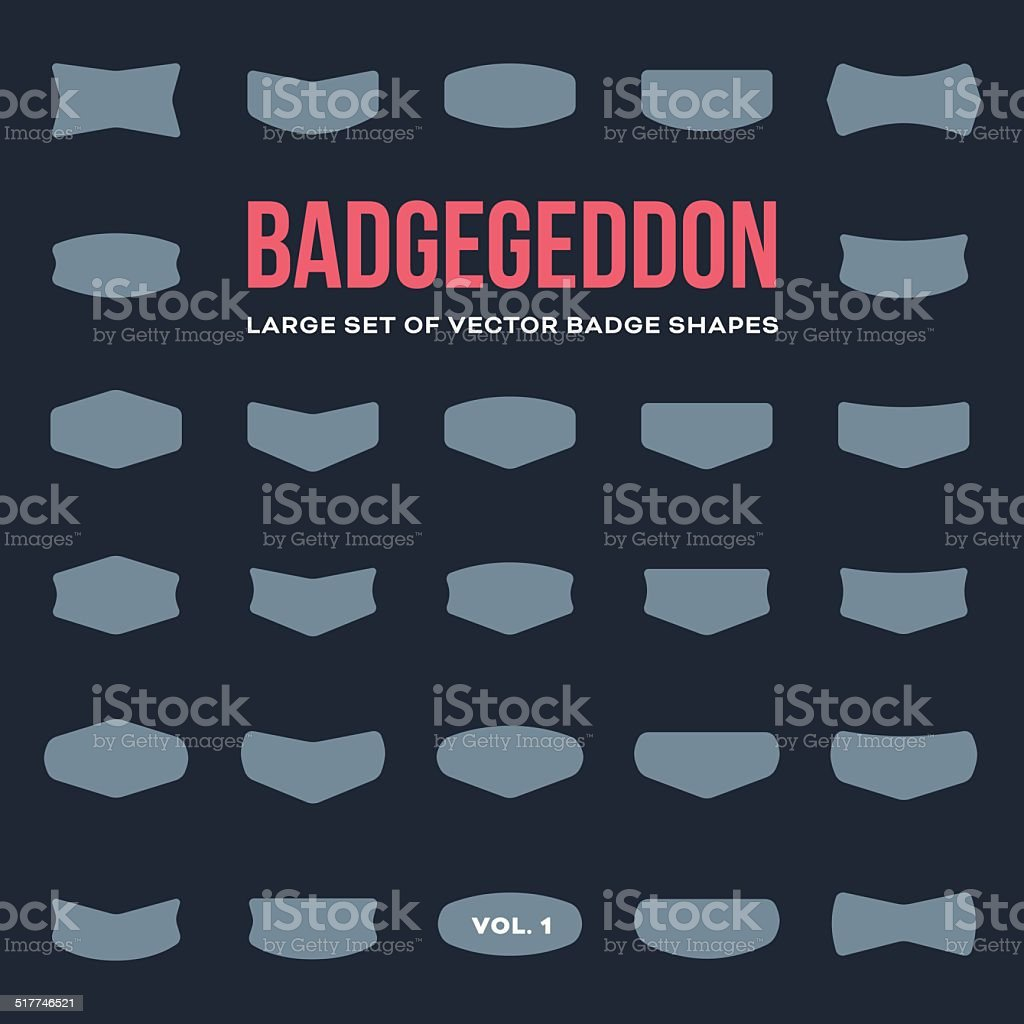 Mega set of vintage badge shapes and logo elements vector art illustration