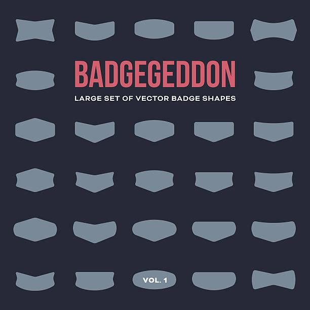 mega set of vintage badge shapes and logo elements - şekil stock illustrations