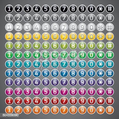 Mega set, reflection glossy buttons with numbers, multicolor vector buttons set