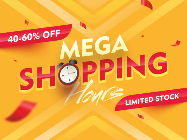 Mega Shopping Time Hours Sale banner or poster design with 40-60% discount offer on yellow background. vector art illustration
