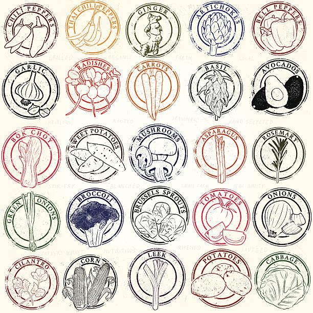 Mega Vegetable Stamp Collection vector art illustration