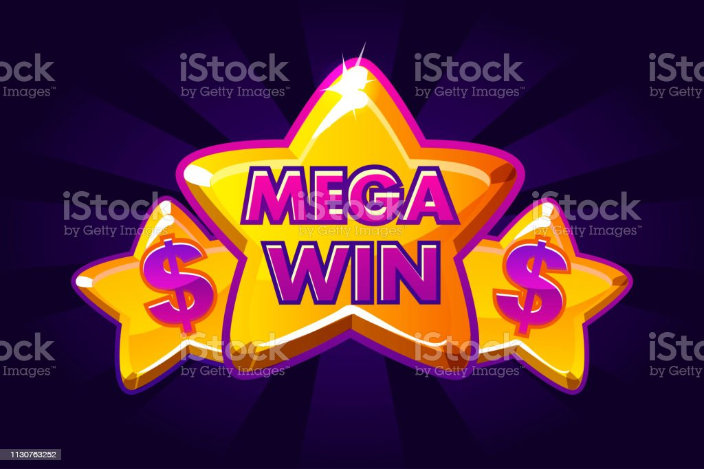 Mega Win Banner Background For Online Casino Poker Roulette Slot Machines Card Games Vector Icon Gold Stars Stock Illustration Download Image Now Istock
