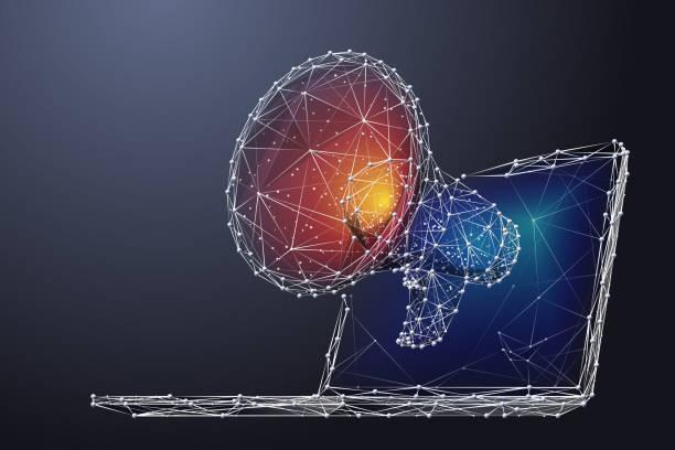Megaphon und Laptop LP CR – Vektorgrafik