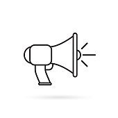 Megaphone, bullhorn line icon, outline vector sign, linear style pictogram isolated on white. Announcement symbol, illustration. Editable stroke. Pixel perfect