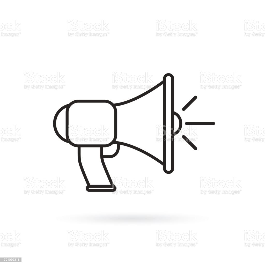 Megaphone, bullhorn line icon, outline vector sign, linear style pictogram isolated on white. vector art illustration