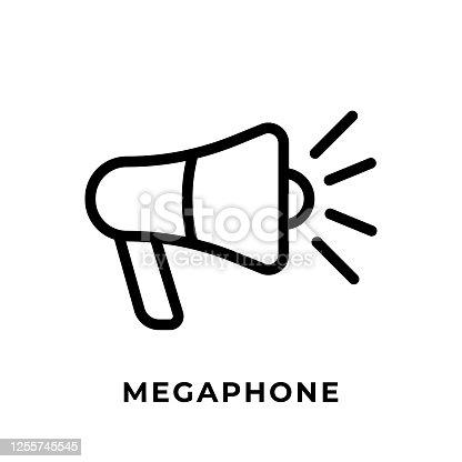 istock Megaphone button icon vector for social media. Megaphone icon Vector illustration design template. Megaphone icon or button for video channel, blog, social media concept and background banner 1255745545
