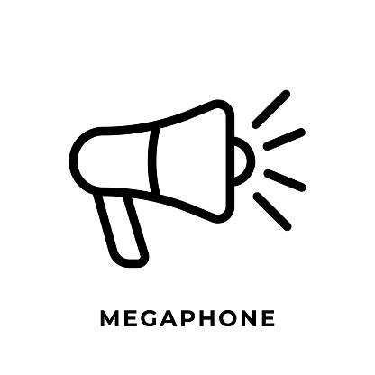 Megaphone button icon vector for social media. Megaphone icon Vector illustration design template. Megaphone icon or button for video channel, blog, social media concept and background banner