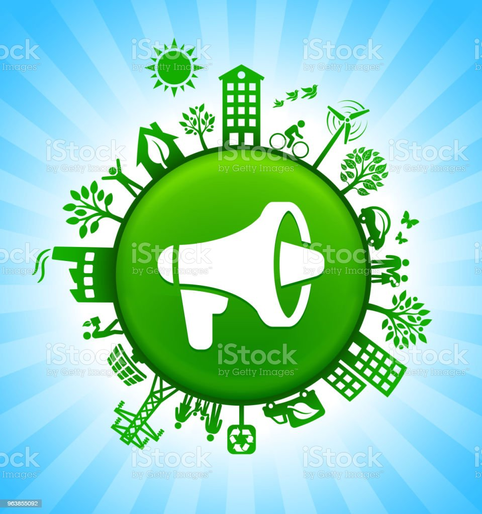 Megaphone Environment Green Button Background on Blue Sky - Royalty-free Alternative Energy stock vector