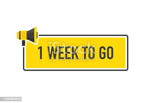 Megaphone geometric yellow banner with One Week To Go speech bubble. Flat style. Vector illustration.