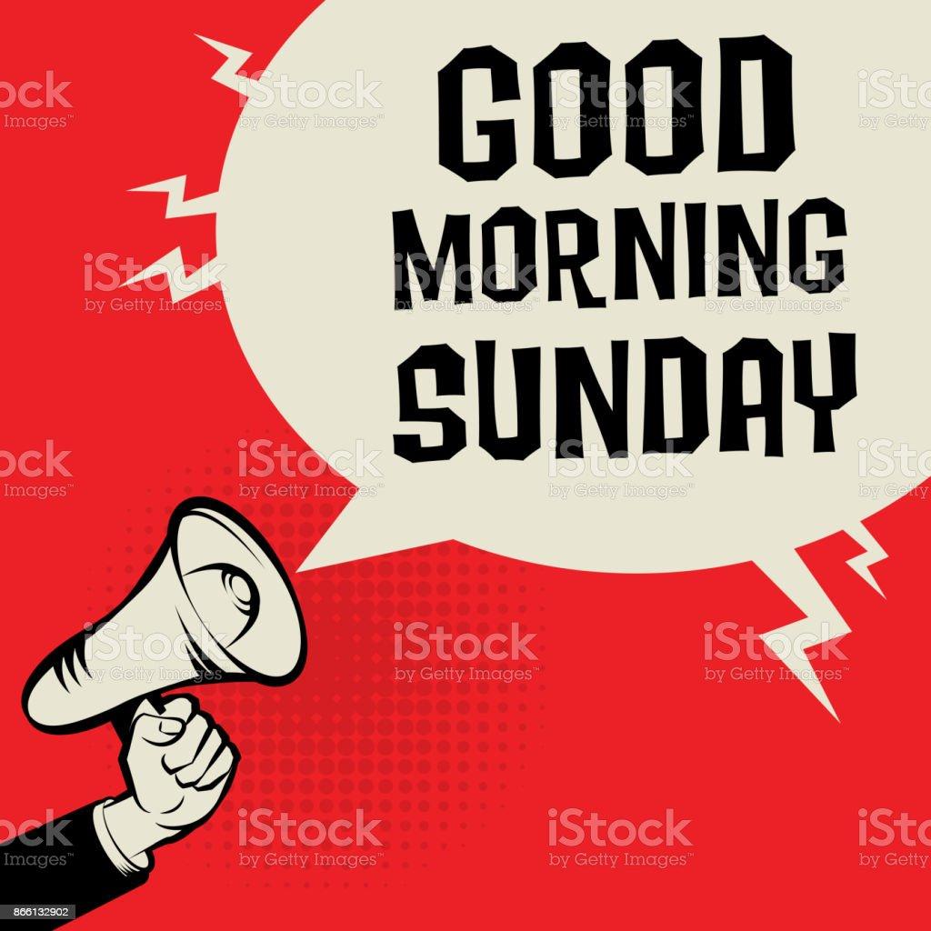 Megaphon Hand Business Konzept Text Guten Morgen Sonntag