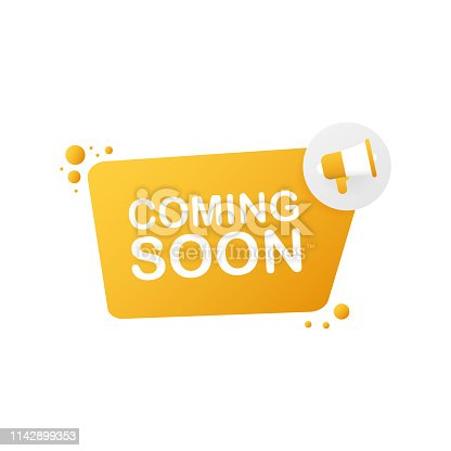 843847560istockphoto Megaphone Hand, business concept with text coming soon. Vector illustration 1142899353