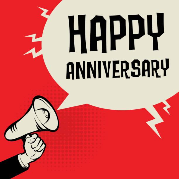 ilustrações, clipart, desenhos animados e ícones de megafone de mão, o conceito de negócio com texto feliz aniversário - data especial