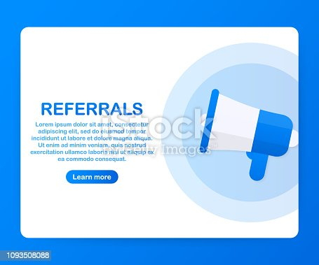 Megaphone Hand, business concept with text referrals. Vector stock illustration