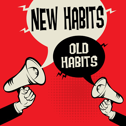 Megaphone Hand business concept with text New Habits versus Old Habits, vector illustration