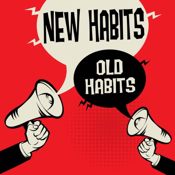 illustrazioni stock, clip art, cartoni animati e icone di tendenza di megaphone hand concept new habits versus old habits - assuefazione