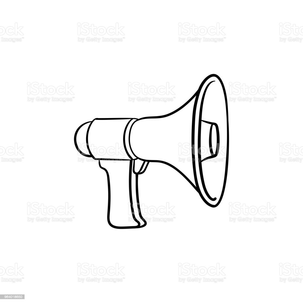 Megaphone hand drawn outline doodle icon - Royalty-free Alertness stock vector