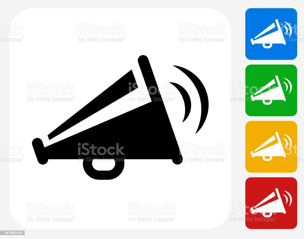 Megaphone Icon Flat Graphic Design vector art illustration
