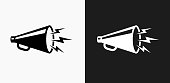 Megaphone Icon on Black and White Vector Backgrounds. This vector illustration includes two variations of the icon one in black on a light background on the left and another version in white on a dark background positioned on the right. The vector icon is simple yet elegant and can be used in a variety of ways including website or mobile application icon. This royalty free image is 100% vector based and all design elements can be scaled to any size.