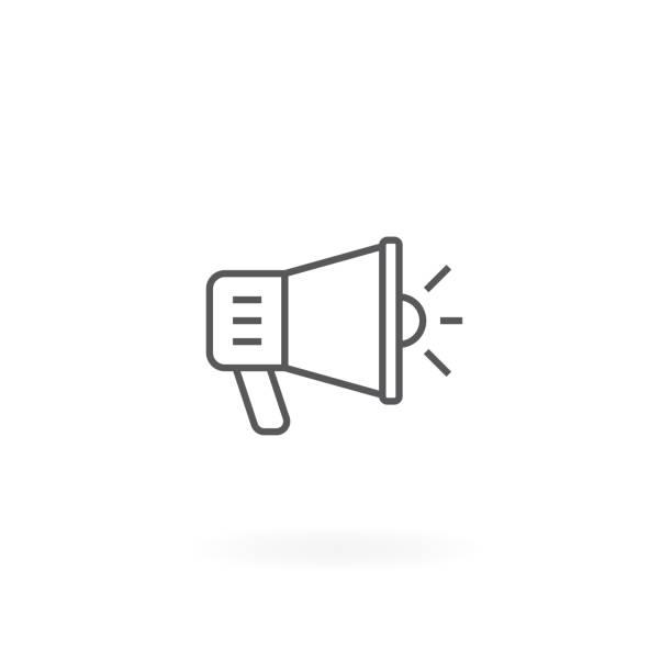 Megaphone icon Megaphone icon. Loudspeaker symbol, Promotion vector illustration. Promotion and advertising symbol horned stock illustrations