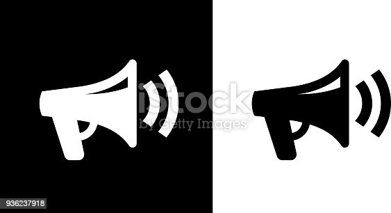 Megaphone IconThis royalty free vector illustration features the main icon on both white and black backgrounds. The image is black and white and had the background rendered with the main icon. The illustration is simple yet very conceptual.