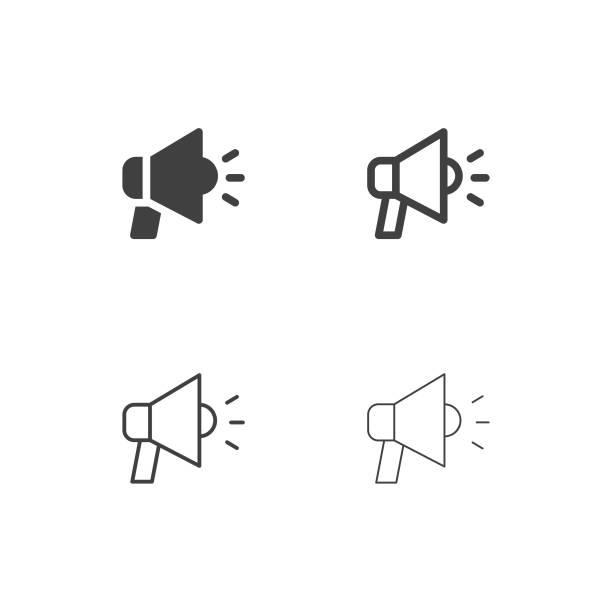 Megaphone Icons - Multi Series Megaphone Icons Multi Series Vector EPS File. alertness stock illustrations