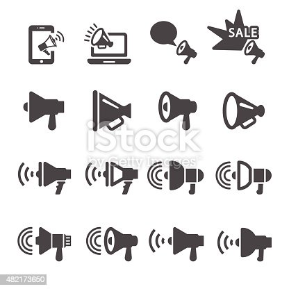megaphone in action icon set 2, vector eps10.