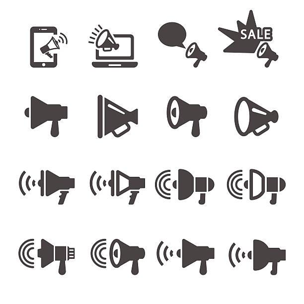 stockillustraties, clipart, cartoons en iconen met megaphone in action icon set 2, vector eps10 - 2015