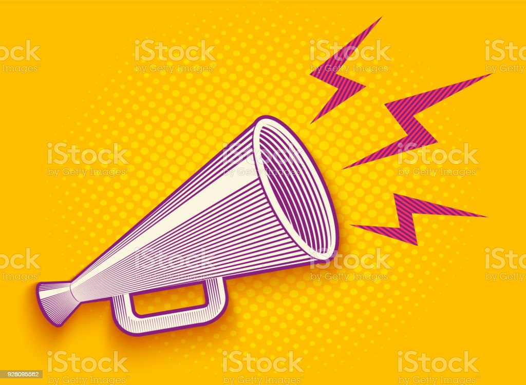 megaphone in engraving style vector art illustration