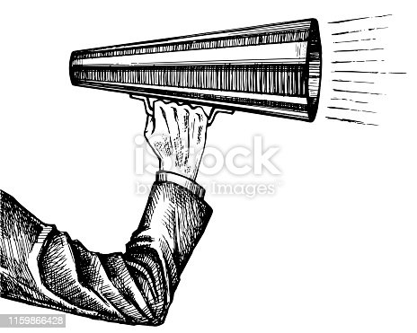 Business man holds in his hand and speaks into a Bullhorn or megaphone, loudspeaker.  Hand Drawn sketch on retro vintage engraving imitation. Vector Illustration isolated on white