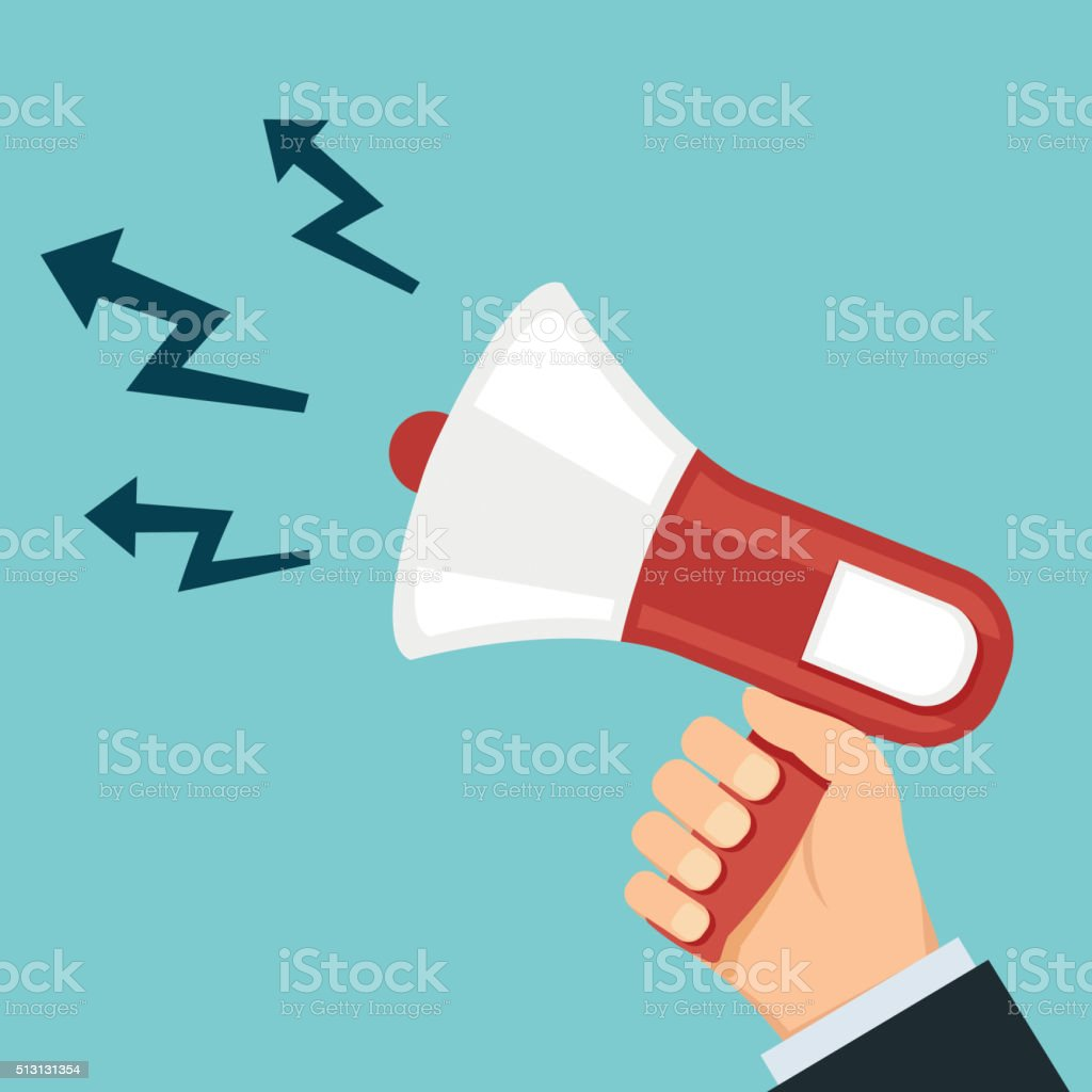 Megaphone in hand vector art illustration