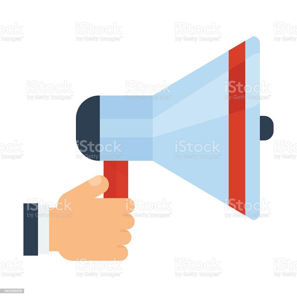 megaphone in hand vector art illustration