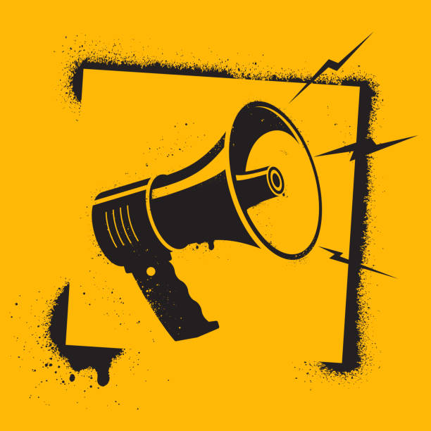Megaphone in stencil style. Megaphone pictogram - symbol of protest, attention, appeal. Motivational Poster. Call to action. Vector illustration. vector art illustration