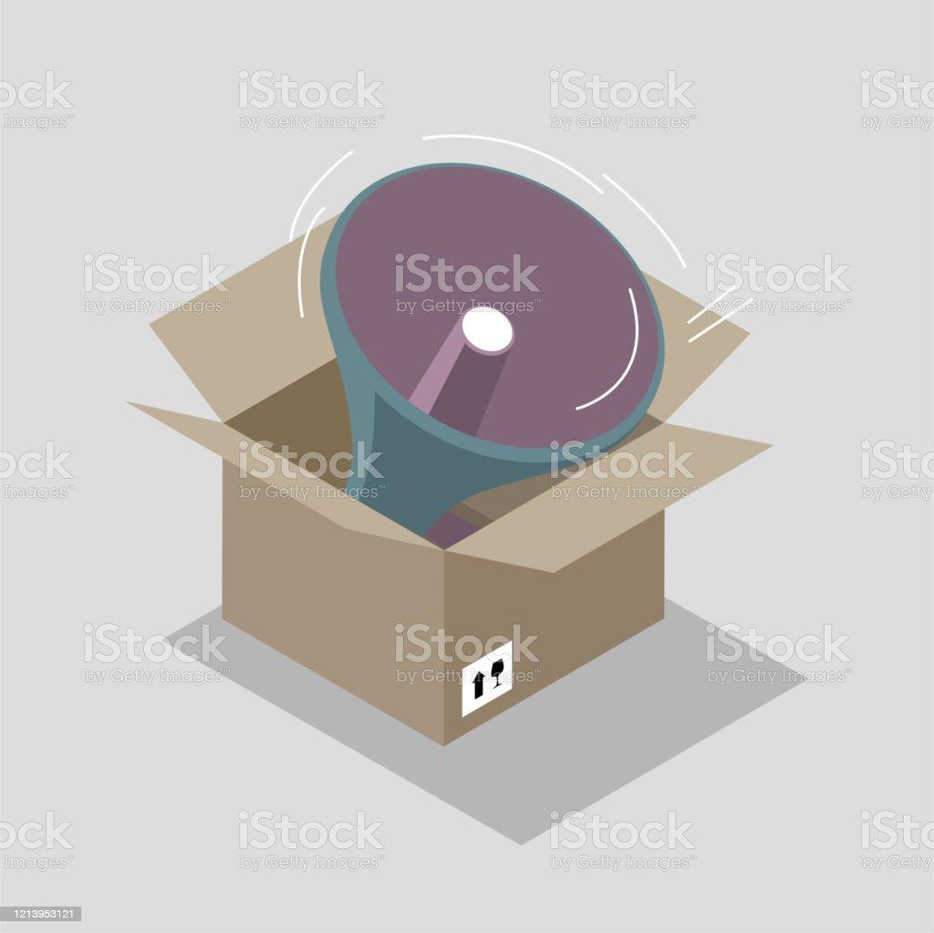 段ボール箱の中のメガホン - おもちゃ エアホーンのベクターアート素材 ...