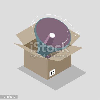 istock Megaphone in the cardboard box. 1213953121