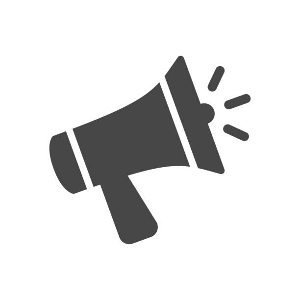 illustrations, cliparts, dessins animés et icônes de megaphone, icône de haut-parleur dans le modèle plat d'isolement sur le fond blanc. illustration de vecteur. - megaphone