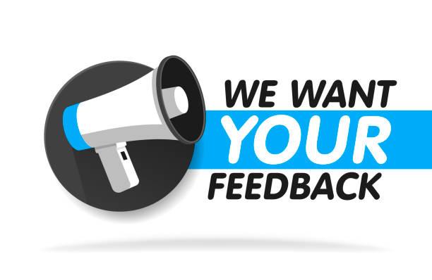 ilustrações, clipart, desenhos animados e ícones de megafone em fundo redondo. queremos seu feedback em bolha. ilustração vetorial - feedback